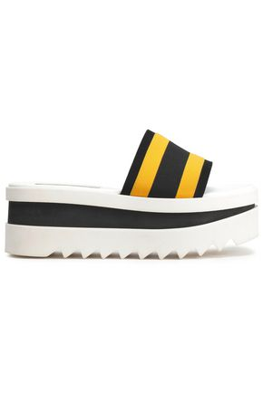 STELLA McCARTNEY Striped twill platform slides