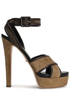 SERGIO ROSSI Leather-trimmed suede platform sandals