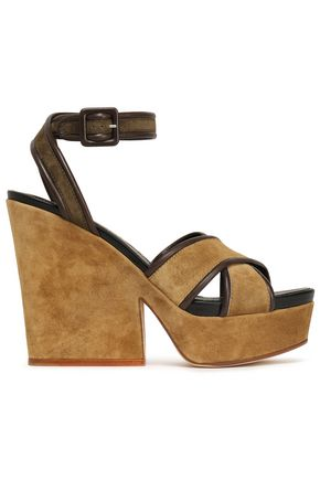 SERGIO ROSSI Leather-trimmed suede platform wedge sandals