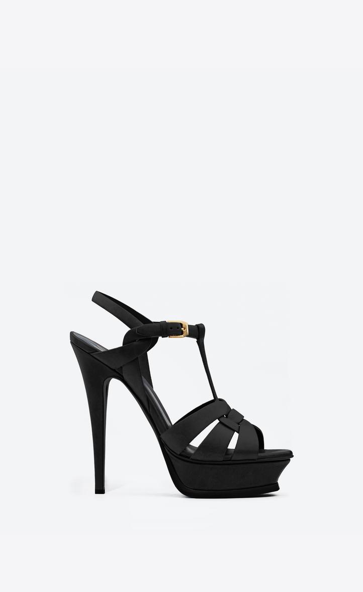 f5b1a5b57e6 Saint Laurent Classic Tribute 105 Sandal In Bourgogne Patent Leather In  Black