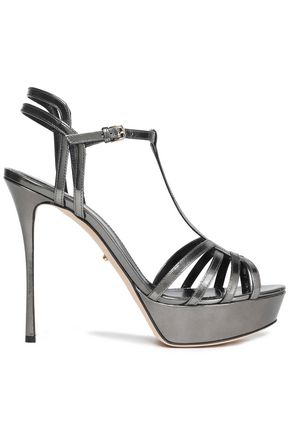 SERGIO ROSSI Cutout metallic leather platform pumps