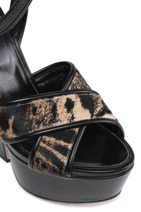 SERGIO ROSSI Calf hair platform wedge sandals