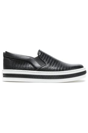 SERGIO ROSSI Lizard-effect leather slip-on sneakers