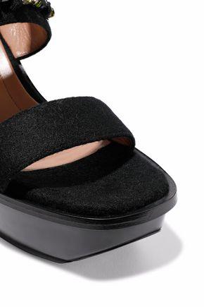 MARNI Embellished felt wedge slingback sandals
