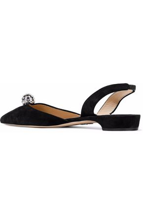 PAUL ANDREW Embellished suede slingback point-toe flats