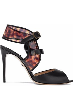 PAUL ANDREW Leather and leopard-print PVC sandals