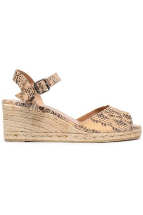 CASTAÑER Snake-print faux leather espadrille wedge sandals