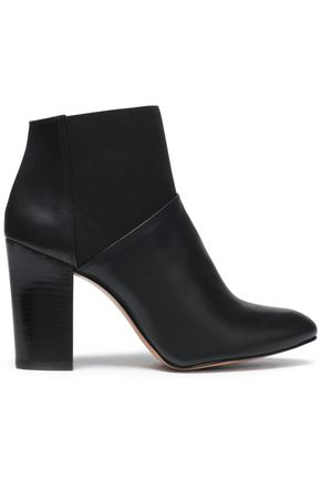 CASTAÑER Paneled leather and stretch-knit ankle boots