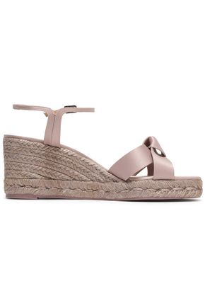 CASTAÑER Becca knotted satin espadrille wedge sandals