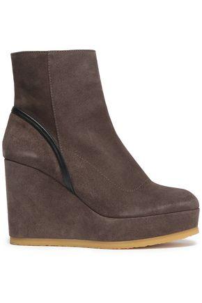 CASTAÑER Leather-trimmed suede platform ankle boots