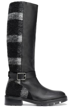 CASTAÑER Buckled leather and striped brushed-felt boots