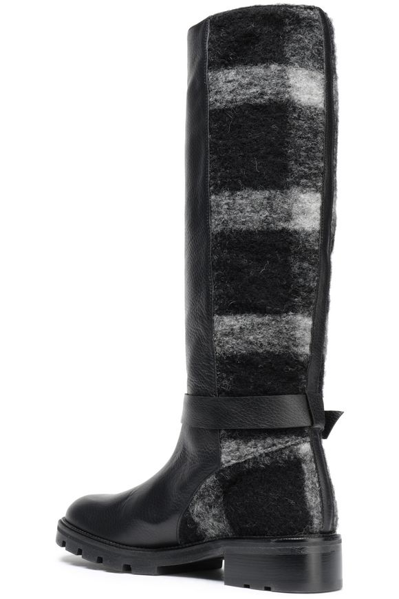 Buckled leather and striped brushed-felt boots | CASTAÑER | Sale up to 70%  off | THE OUTNET