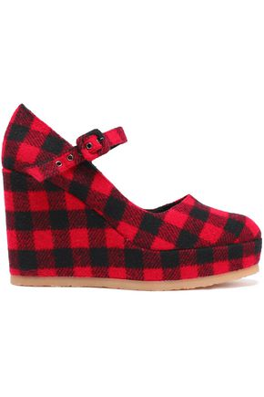CASTAÑER Checked felt wedge pumps