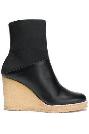 CASTAÑER Paneled leather and stretch-knit wedge ankle boots