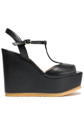 CASTAÑER Leather platform wedge sandals
