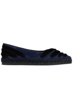 CASTAÑER Lace-up velvet espadrille point-toe flats