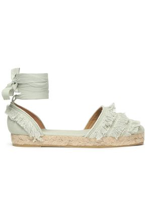 CASTAÑER Lace-up fringed canvas espadrilles