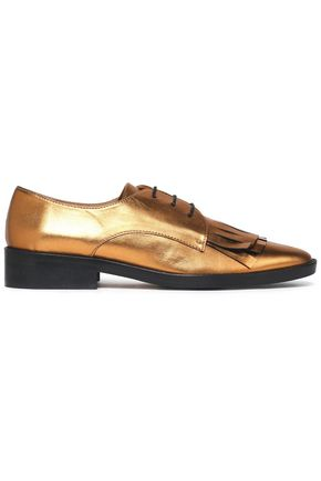 CASTAÑER Fringed metallic patent-leather brogues