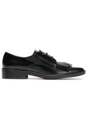 CASTAÑER Frayed-trimmed leather loafers