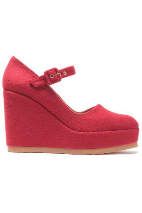 CASTAÑER Felt wedge pumps