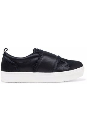 SAM EDELMAN Frayed satin slip-on platform sneakers