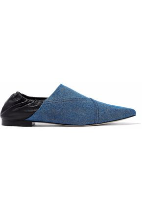 3.1 PHILLIP LIM Two-tone leather and denim point-toe flats
