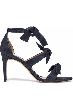 Iridescent knotted denim sandals