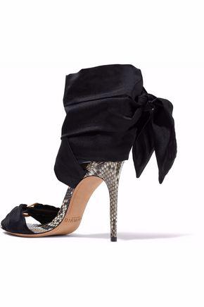 ALEXANDRE BIRMAN Branca embellished satin and python sandals