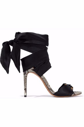 ALEXANDRE BIRMAN Lace-up embellished satin and python sandals