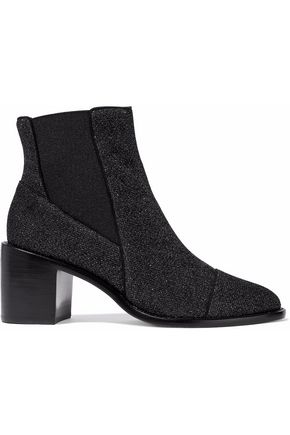 ALEXANDRE BIRMAN Metallic stretch-knit ankle boots