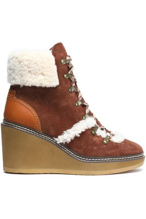 SEE BY CHLOÉ Martinica shearling-trimmed suede wedge ankle boots
