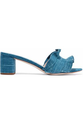 LOEFFLER RANDALL Ruffled printed woven sandals