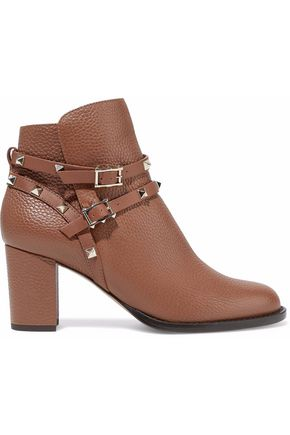 VALENTINO Rockstud pebbled-leather ankle boots