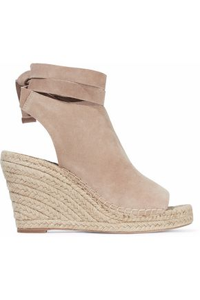 LOEFFLER RANDALL Lace-up suede espadrille wedge sandals