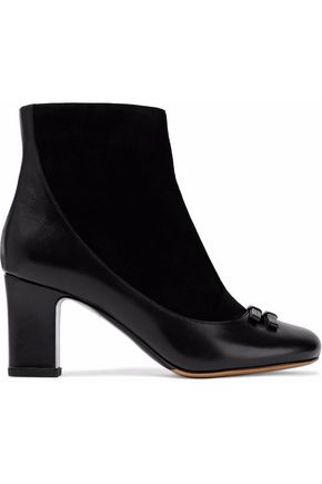 TABITHA SIMMONS Suede and glossed-leather ankle boots