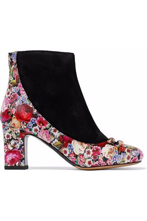 TABITHA SIMMONS Suede and floral-print leather ankle boots