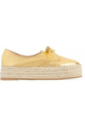 CHARLOTTE OLYMPIA Metallic leather platform espadrille sneakers