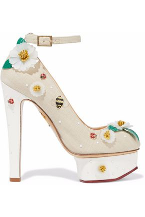CHARLOTTE OLYMPIA Embellished canvas platform pumps