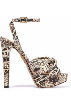 CHARLOTTE OLYMPIA Knotted printed crepe platform sandals