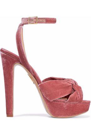 CHARLOTTE OLYMPIA Knotted crushed-velvet platform sandals