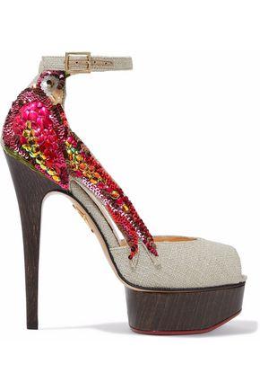 CHARLOTTE OLYMPIA Sequin-embellished woven platform sandals