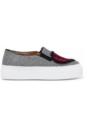 CHARLOTTE OLYMPIA Ruffle-trimmed embellished suede appliquéd houndstooth slip-on sneakers