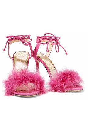 CHARLOTTE OLYMPIA Ostrich feather-trimmed suede sandals