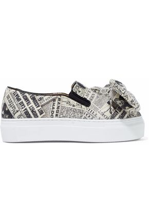 CHARLOTTE OLYMPIA Bow-embellished printed felt platform slip-on sneakers