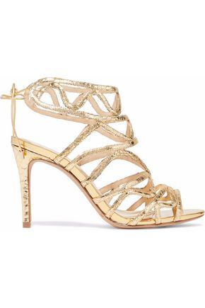 ALEXANDRE BIRMAN Nim cutout metallic python sandals
