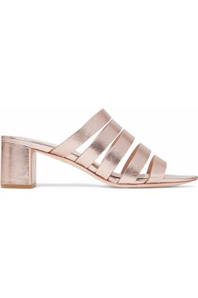 LOEFFLER RANDALL Finley metallic textured-leather mules