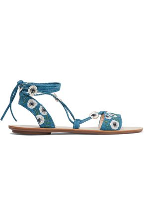 LOEFFLER RANDALL Floral-appliquéd embroidered tweed sandals