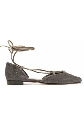 STUART WEITZMAN Lace-up leather-trimmed metallic woven point-toe flats