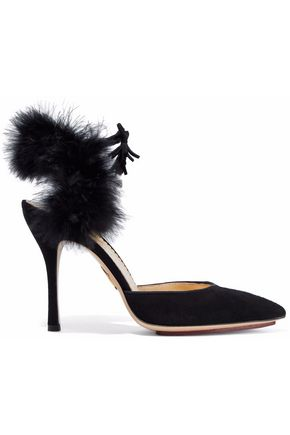 CHARLOTTE OLYMPIA Feather-trimmed suede pumps