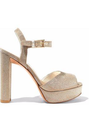 STUART WEITZMAN Sashay glittered leather platform sandals